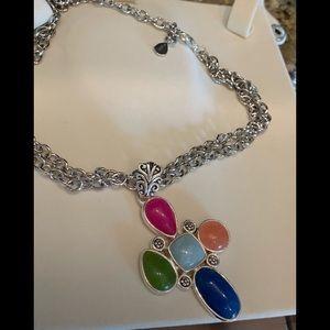 Barse! Multi Stone Cross Pendant Necklace!